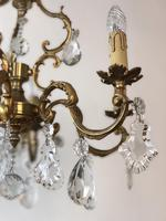 Antique French Large & Heavy Chandelier Gilt Bronze Ceiling Light with Crystal Droplets (6 of 7)