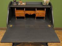 Antique Art Nouveau Black Writing Bureau Desk with Carvings, Lockable, Gothic (23 of 23)