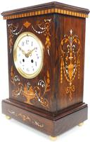 Incredible Rosewood Cased Mantel Clock with Multi Wood & Mother of Pearl Inlay 8-day Striking Clock (6 of 12)