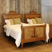 Art Nouveau Matching Pair of Twin Single French Beds (2 of 10)