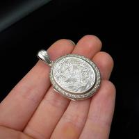 Antique Victorian Stork Bird Engraved Oval Sterling Silver Photo Locket Pendant (8 of 8)