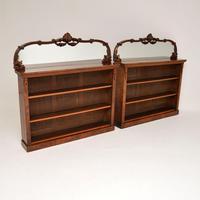 Pair of Antique Victorian Burr Walnut Mirrored Bookcases