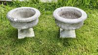 Mid 20th Century Pair of Weathered Cast Stone Garden Planters (3 of 5)