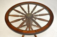 Vintage Glass Top Wagon Wheel Coffee Table (5 of 6)