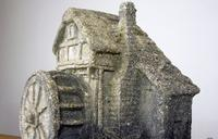 Vintage Mid Century Shell Grit and Concrete Watermill Birdbath (9 of 12)