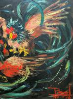 Stunning Original 1970s Vintage Abstract  Acrylic Painting Cocks Fighting - Game (7 of 15)