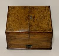 Antique Victorian Burr Walnut Desktop Stationery Cabinet (2 of 11)