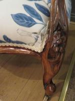 Victorian Walnut Armchair New Upholstery c.1860 (10 of 11)