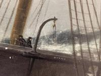 Huge 19th Century Seascape Oil Painting Sinking Ship Signalling Rescuers by Henry E Tozer (55 of 58)