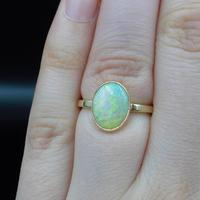 Antique Colourful Natural Opal Oval Solitaire 9ct 9K Gold Ring (5 of 9)