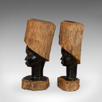 Pair Of, Antique Carved Heads, African, Ebony, Decorative Statue, Victorian (8 of 11)