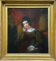 Exquisite Early 1800s Georgian Portrait Oil Painting of Beautiful Seated Lady
