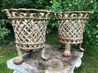 Pair of Fine Antique Edwardian Garden Cast Iron Lattice Urn Planters on 3 Lion Feet (2 of 12)