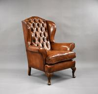 Edwardian Mahogany Hand Dyed Leather Wing Back Armchair