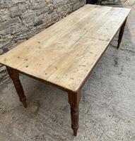 Large Antique Pine Farmhouse Table on Turned Legs (5 of 19)