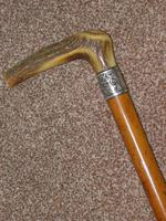 Victorian Hallmarked 1899 Repousse Silver Walking Stick With Antler Handle 'C.H' (11 of 12)