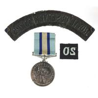 British military Elizabeth II Royal Observer Corps medal with cloth patches awarded to Observer G B H George (2 of 3)