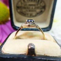 Vintage Dainty 18ct Gold Created Sapphire Evil Eye Ring (8 of 10)