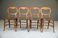 4 Victorian Beech Kitchen Chairs