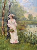 'R.M Stewart' Original Lovely 19thc Elegant Lady Oil Portrait Painting '1886' (5 of 11)