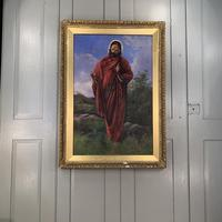 Antique Oil Painting Portrait of Jesus signed Charles Williams