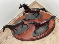 """Set 3 Small Solid Bronze Horse Racing """"The Origins of Champions"""" by Gill Parker (28 of 45)"""