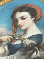 """19th Century Oval Pastel Painting French Neapolitan"""" Nubile Young Woman Feeding Goat Flowers"""" Attributed Fantin Latour Theodore (26 of 51)"""