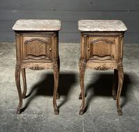 Pair of French Marble Top Bedside Cupboards