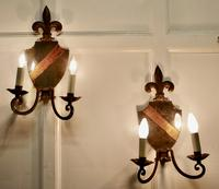 Pair of Wrought Iron Heraldic Shield Shaped Girandole Wall Mirrors (2 of 7)