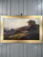 Antique Signed Victorian Landscape Oil Painting of Flock of Sheep (2 of 10)