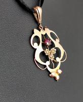Antique Art Nouveau Lavalier Pendant, Ruby & Pearl, 9ct Gold (4 of 10)