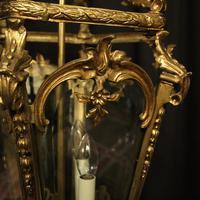 French 19th Century Gilt Bronze Antique Hall Lantern (3 of 10)