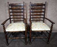 Pair Of Oak Ladder Back Armchairs (4 of 9)