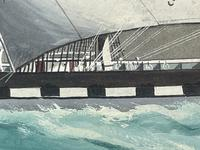 """Edwardian Watercolour """"Champion Of The Seas"""" Ship Black Ball Line Off Cape of Good Hope Signed Pierhead Artist Williams (21 of 39)"""