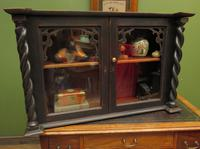 Antique Victorian Gothic Black Painted Curio Display Cabinet (6 of 13)