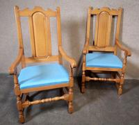 Pair of Oak Reproduction High Back Armchairs (6 of 11)