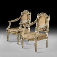 Extremely Fine & Decorative Set of Four 19th Century Italian Painted And Parcel Gilt Armchairs of Neo-Classical Design (6 of 7)