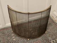 Victorian Arts & Crafts Brass Curved Fire Guard, Spark Screen (2 of 5)