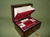 Inlaid Figured Walnut Jewellery – Work Box. Original Tray. C1870 (4 of 13)