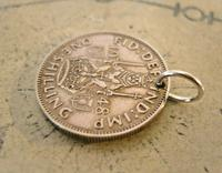 Vintage Pocket Watch Chain Fob 1948 Lucky Silver One Shilling Old 5d Coin Fob (4 of 7)
