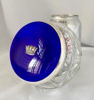 Stunning Blue Guilloche Enamel on Silver Glass Jar c.1930 (3 of 7)