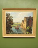 Large Framed Oil Painting of Boats at Totnes by Dorothy Bradshaw (3 of 13)