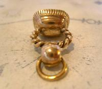 Antique Pocket Watch Chain Fob 1830s Georgian Rose Gilt & Mother Of Pearl Fob (7 of 10)