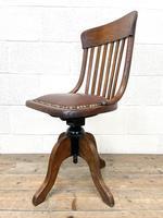 Early 20th Century Antique Oak Swivel Desk Chair (6 of 10)