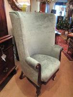 Early Victorian Antique Porter's Barrel Back Wing Armchair (6 of 6)