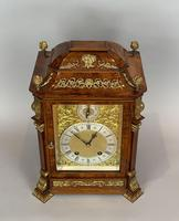 Fine quality burr walnut bracket clock by Lenzkirch of Germany, with a quarter chiming movement c.1903 (9 of 14)