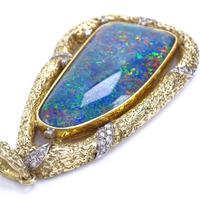 Large 18ct Gold Black Opal Doublet & Diamond Modernist Abstract Pendant (3 of 5)
