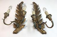 Pair of Vintage Florentine Giltwood Wall Lights (6 of 10)
