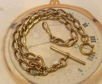 Antique Pocket Watch Chain 1890s Victorian Large Brass Albert With T Bar T*H (3 of 12)