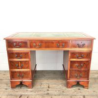 Reproduction Yew Wood Kneehole Desk (2 of 12)